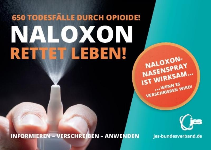 "Abbildung einer Hand mit Naloxon als Nasenspray.Titel ""Naloxon rettet Leben!"""