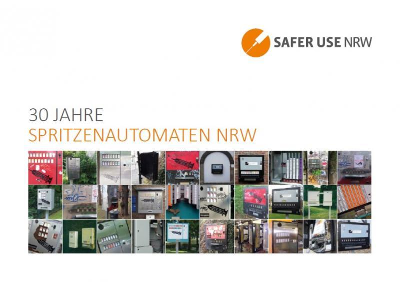 """Collage von Fotos verschiedener Spritzenautomaten auf weißem Hintergrund, Titel """"30 Jahre Spritzenautoamten NRW"""""""