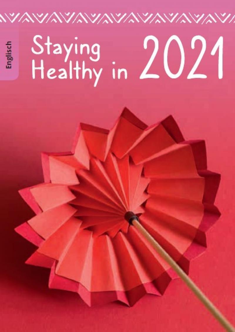 """Abbildung eines Origami-Regenschirm. Titel """"Gesund durchs Jahr 2021 (englisch)"""""""