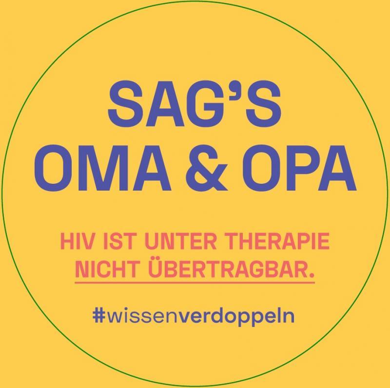 """Gelber Hintergrund. Titel """"Sag's Oma & Opa"""". HIV ist unter Therapie nicht übertragbar. #wissenverdoppeln"""