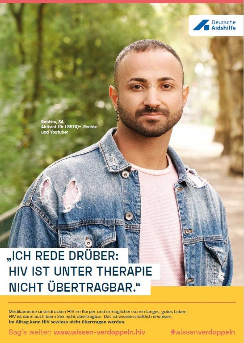 """Foto von Rollenmodell Ibrahim. Titel """"Welt-Aids-Tag 2020: """"Ich rede drüber: HIV ist unter Therapie nicht übertragbar"""""""