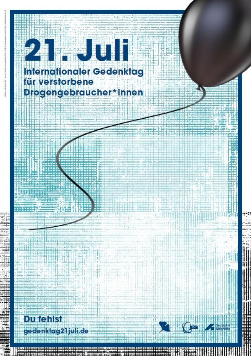 """Abbildung eines schwarzen Luftballons. Titel """"21. Juli Internationaler Gedenktag für verstorbene Drogengebraucher*innen (Plakat DIN A2)"""""""