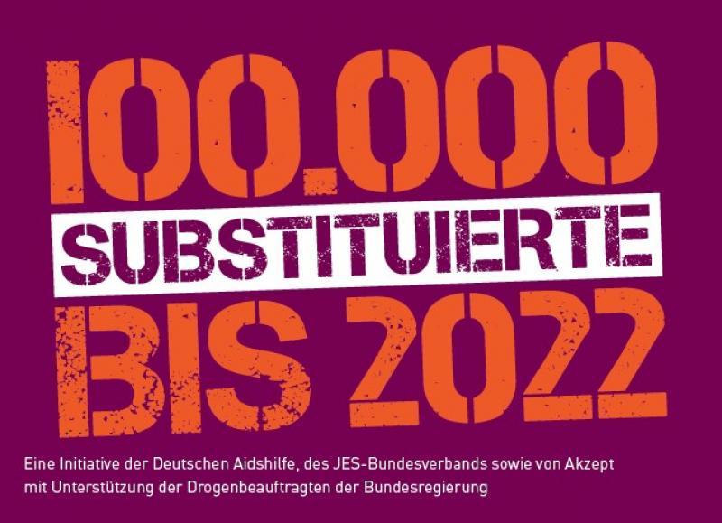 """Aufdruck """"100.000 Substituierte bis 2022"""" auf lila Hintergrund"""