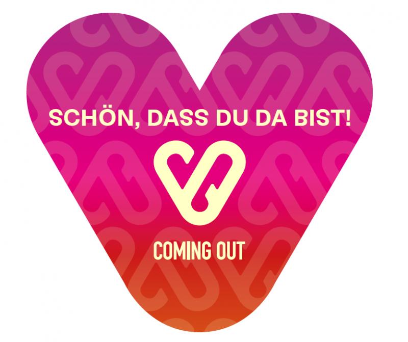 """Herzform. Aufdruck """"Schön dass du da bist"""". Coming Out"""