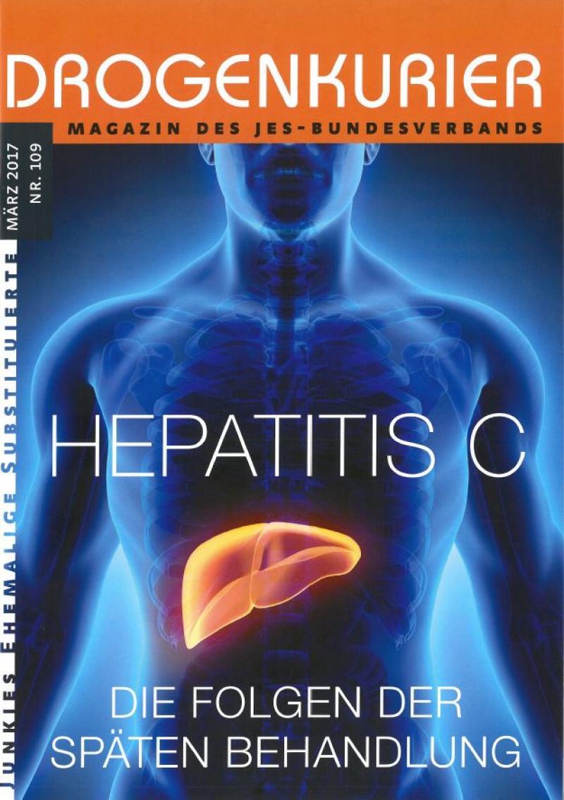 Bläulich transparenter, menschlicher Körper. Zu sehen ist das Knochenskellet und eine gelb scheinende Leber zum Titelthema Hepatitis C