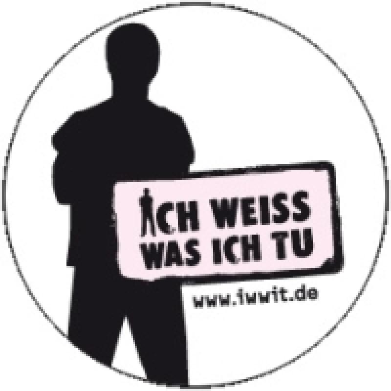 Ich weiss was ich tu Motiv Logo/Schattenmann Größe Ø 100mm