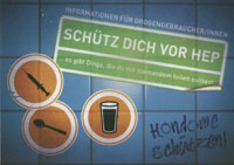 Postkartenaufkleber Schütz Dich Vor HEP