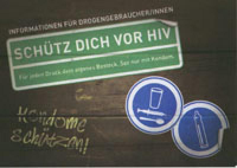 Postkartenaufkleber Schütz Dich Vor HIV