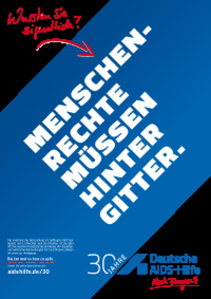 """Plakat A2 """"Menschrechte müssen hinter Gitter"""""""
