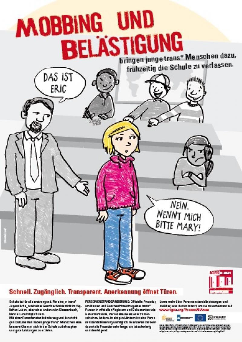 Mobbing und Belästigung bringen junge trans* Menschen dazu, frühzeitig die Schul