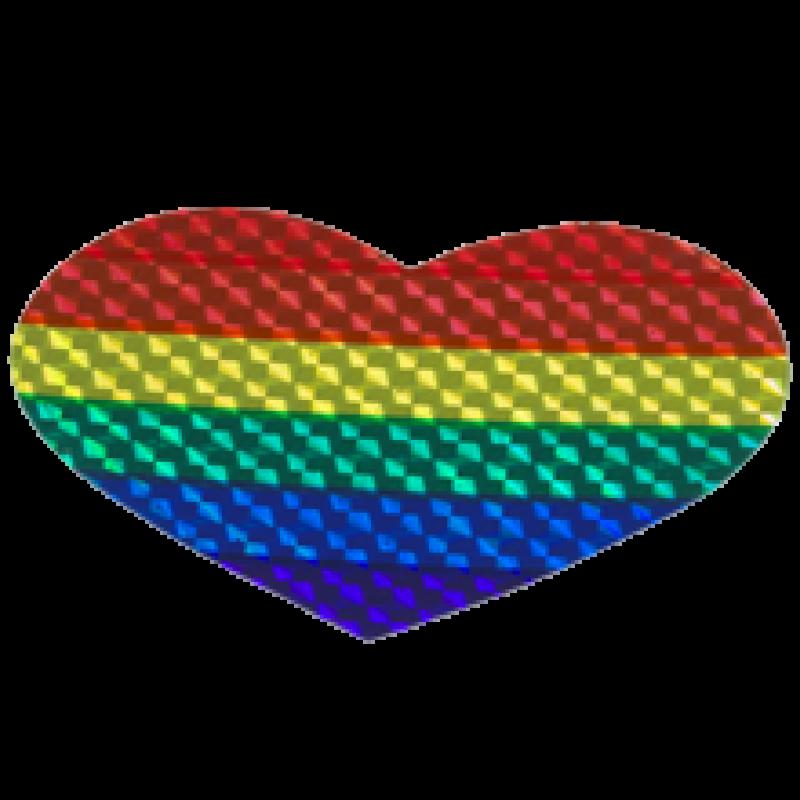 Regenbogenaufkleber mit prismareflex in Herzform