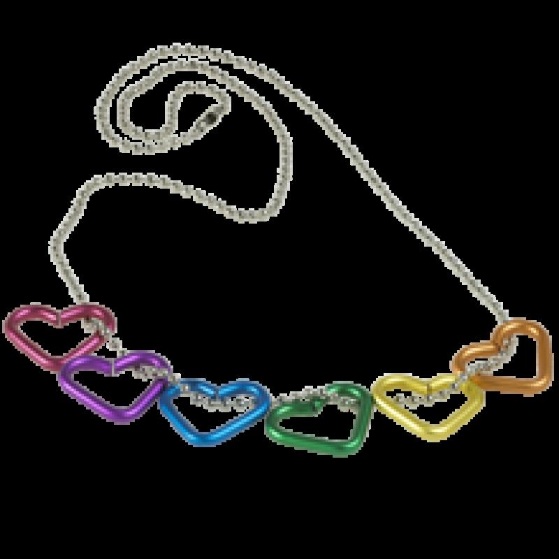 Regenbogen-Halskette mit 6 Herzen