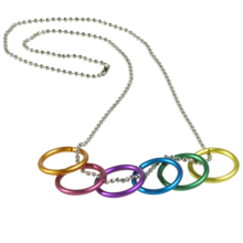 Regenbogen-Halskette mit 6 Ringen
