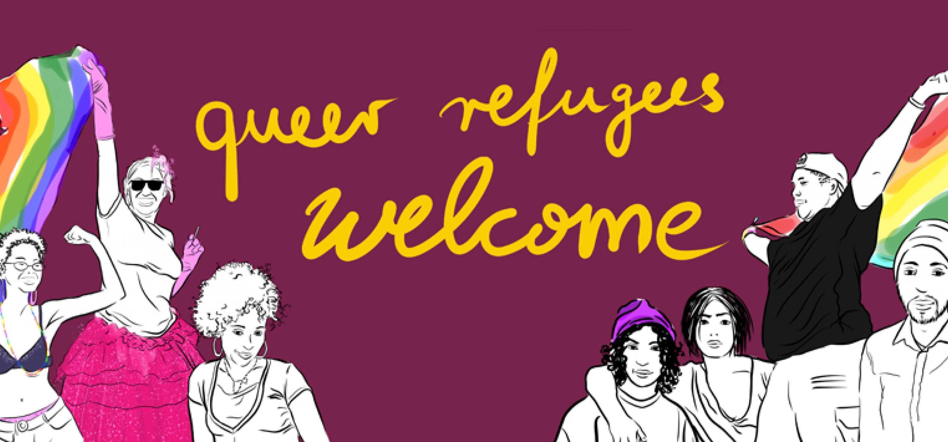 Gezeichnete Personen schwenken Regenbogenfahne auf der Startseite von queerrefugeeswelcome.de
