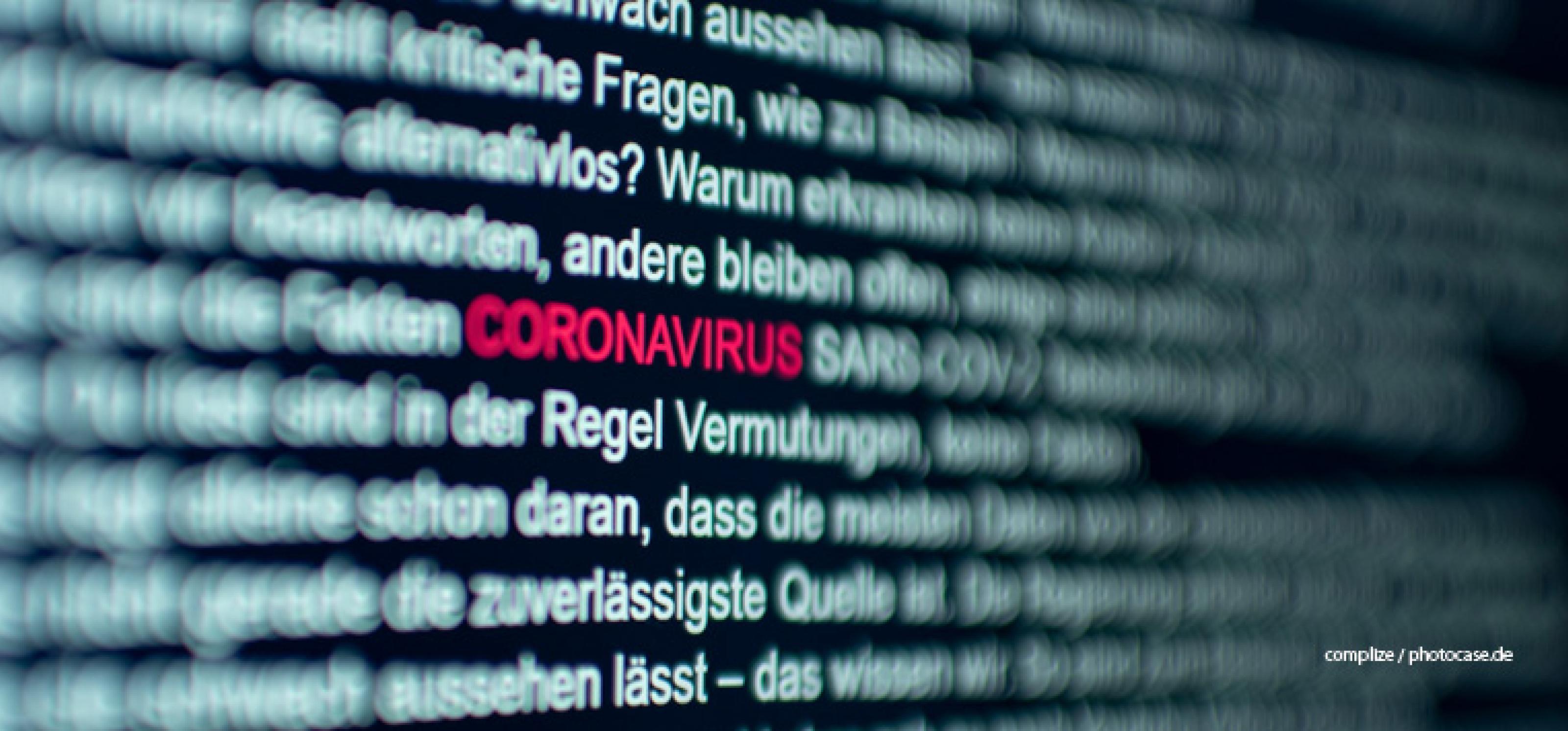 Coronavirus in roter Schrift