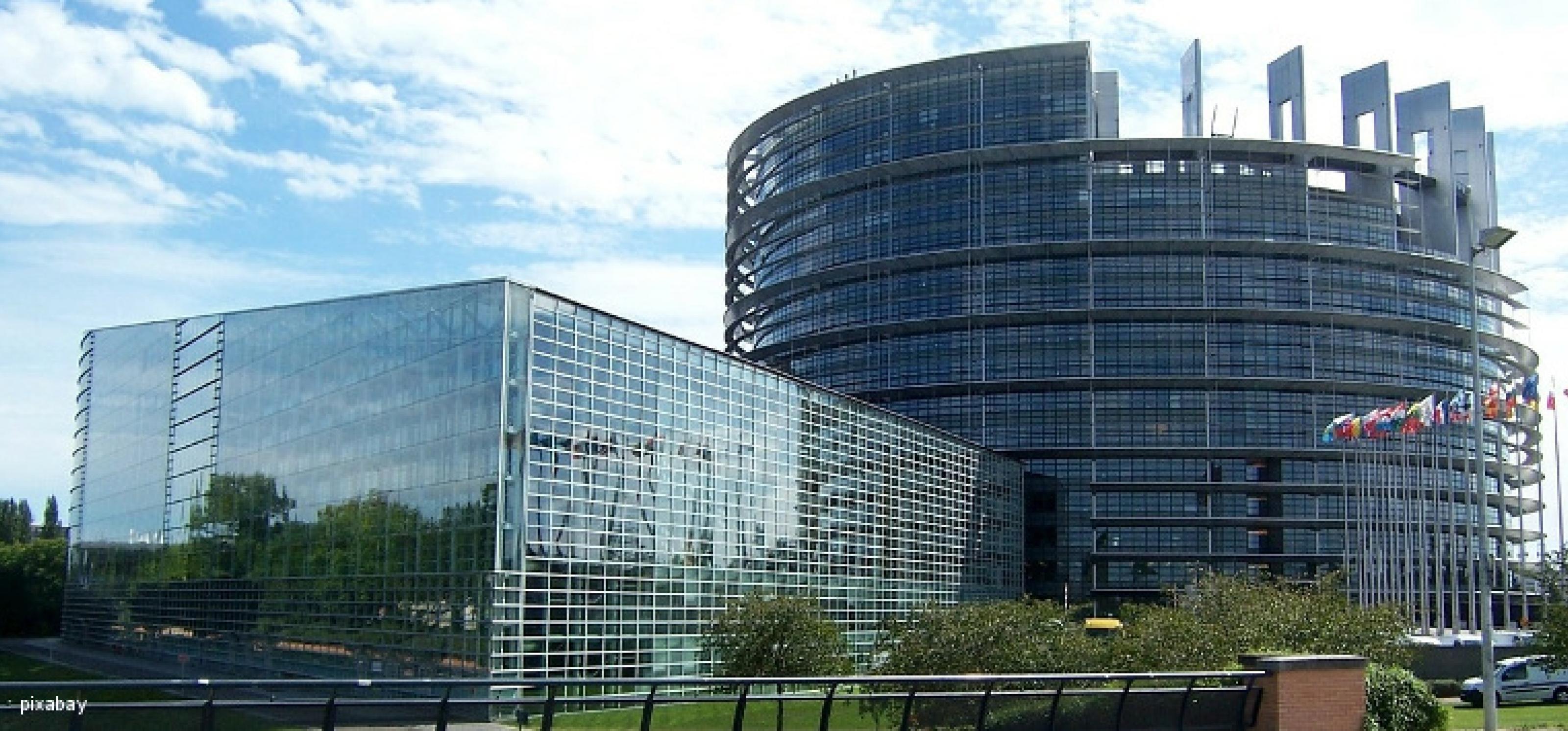 Parlamentsgebäude der EU in Straßburg: ein zylinderförmiges und ein rechteckiges Gebäude mit Glasfassaden