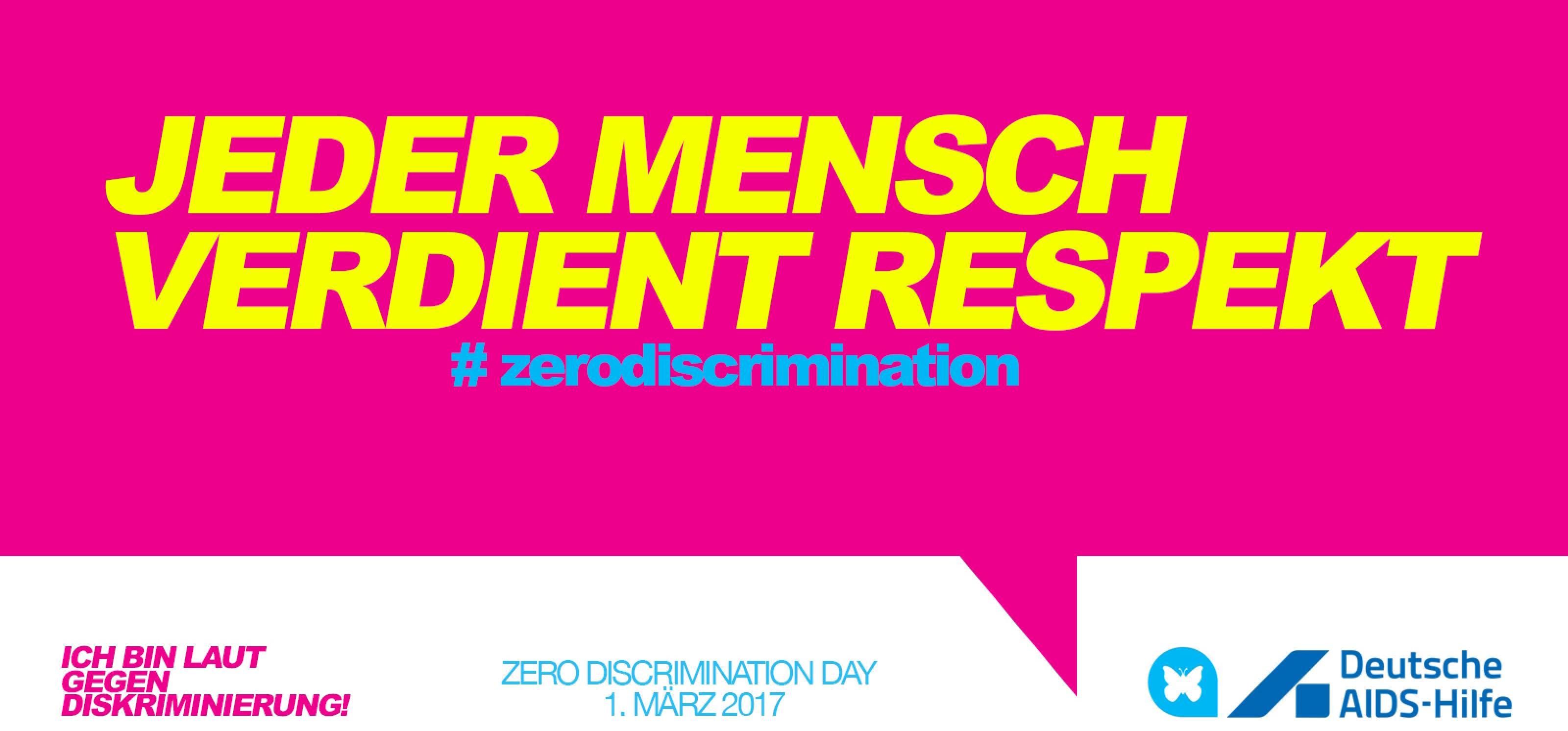 """Auf einer pinken Sprechblase steht der Text """"Jeder Mensch verdient Respekt. Zero Discrimination."""""""