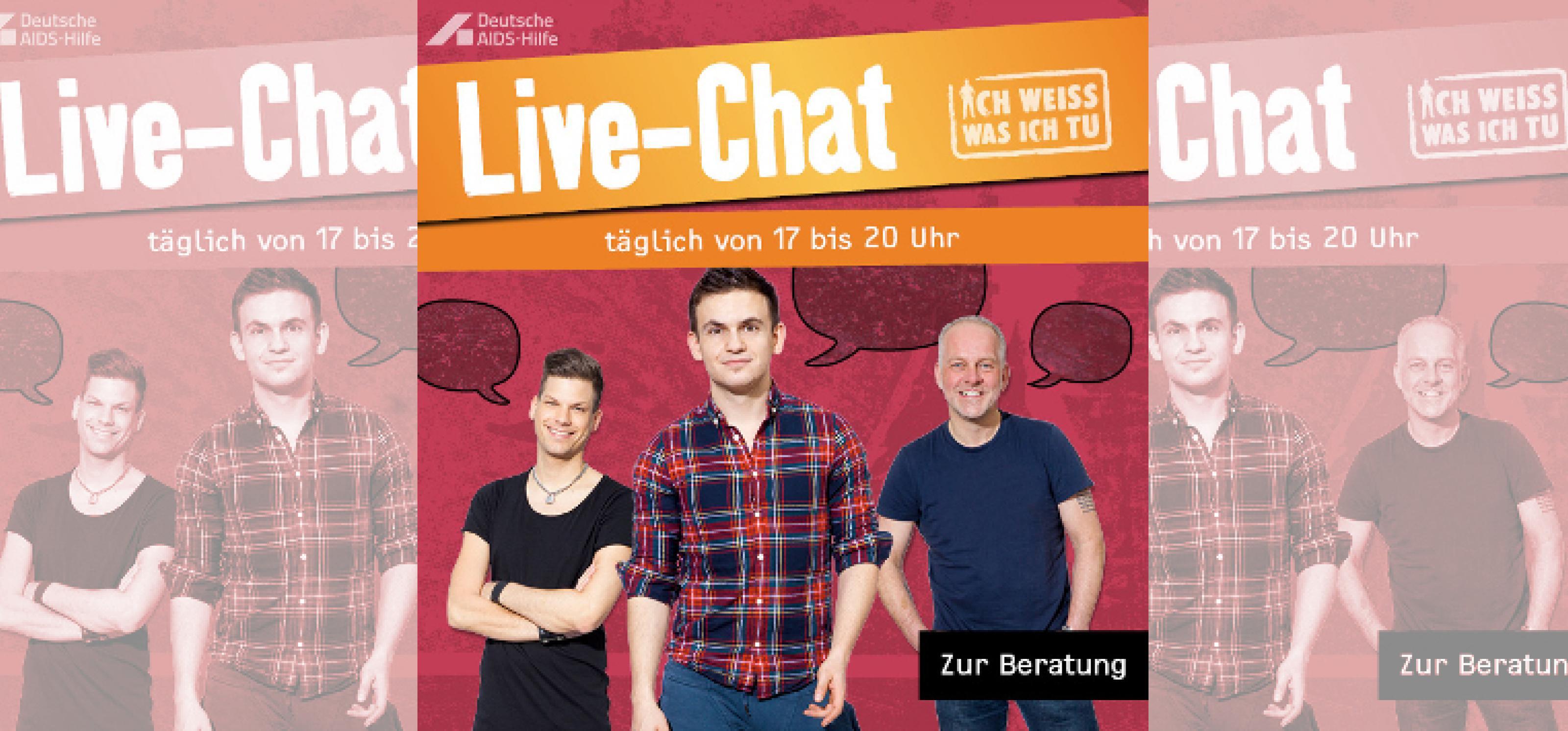 """Banner mit Text """"Live-Chat täglich von 17 bis 20 Uhr"""", roter Hintergrund, davor drei Männer verschiedenen Alters"""