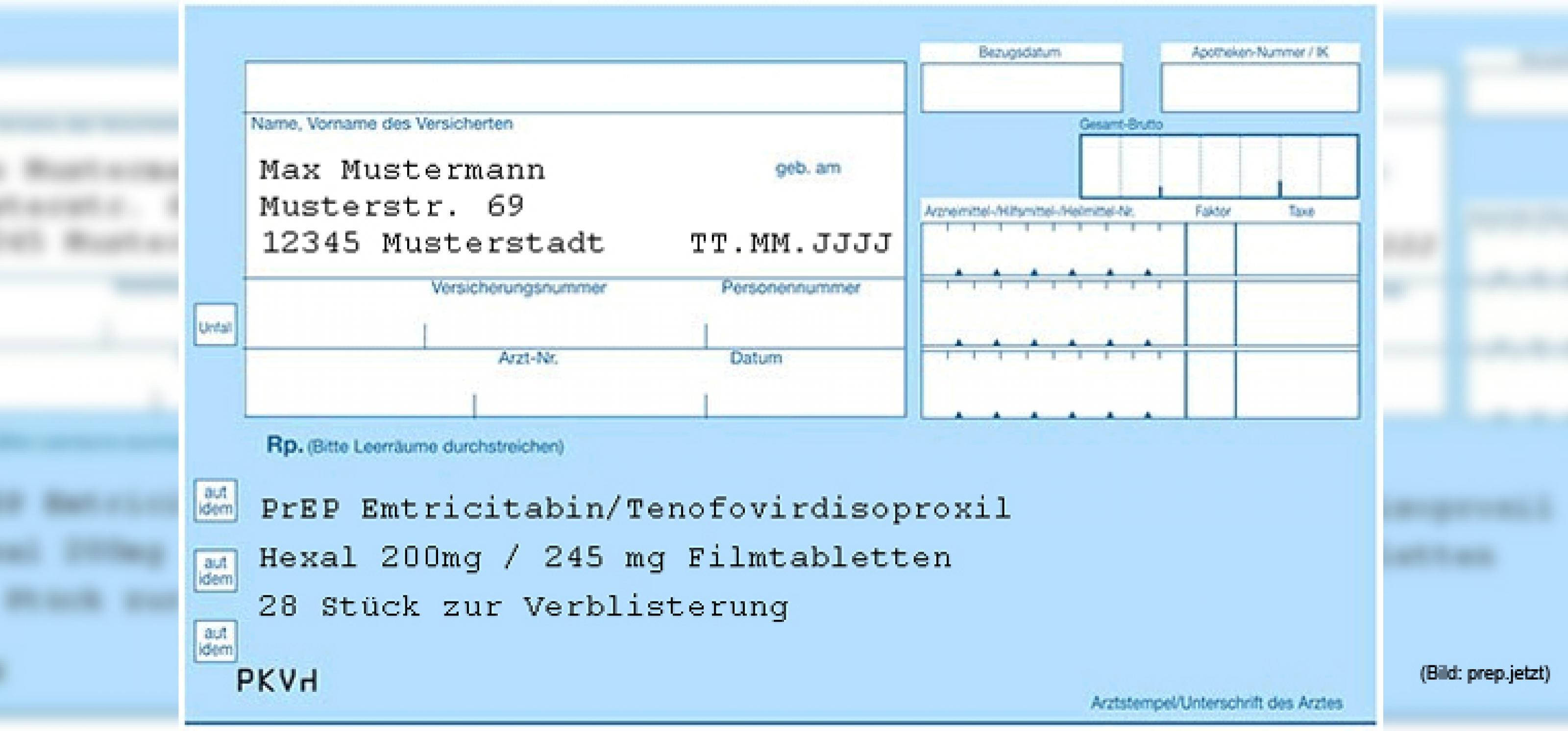 blaues Privatrezept mit Aufschrift von Medikamentennamen