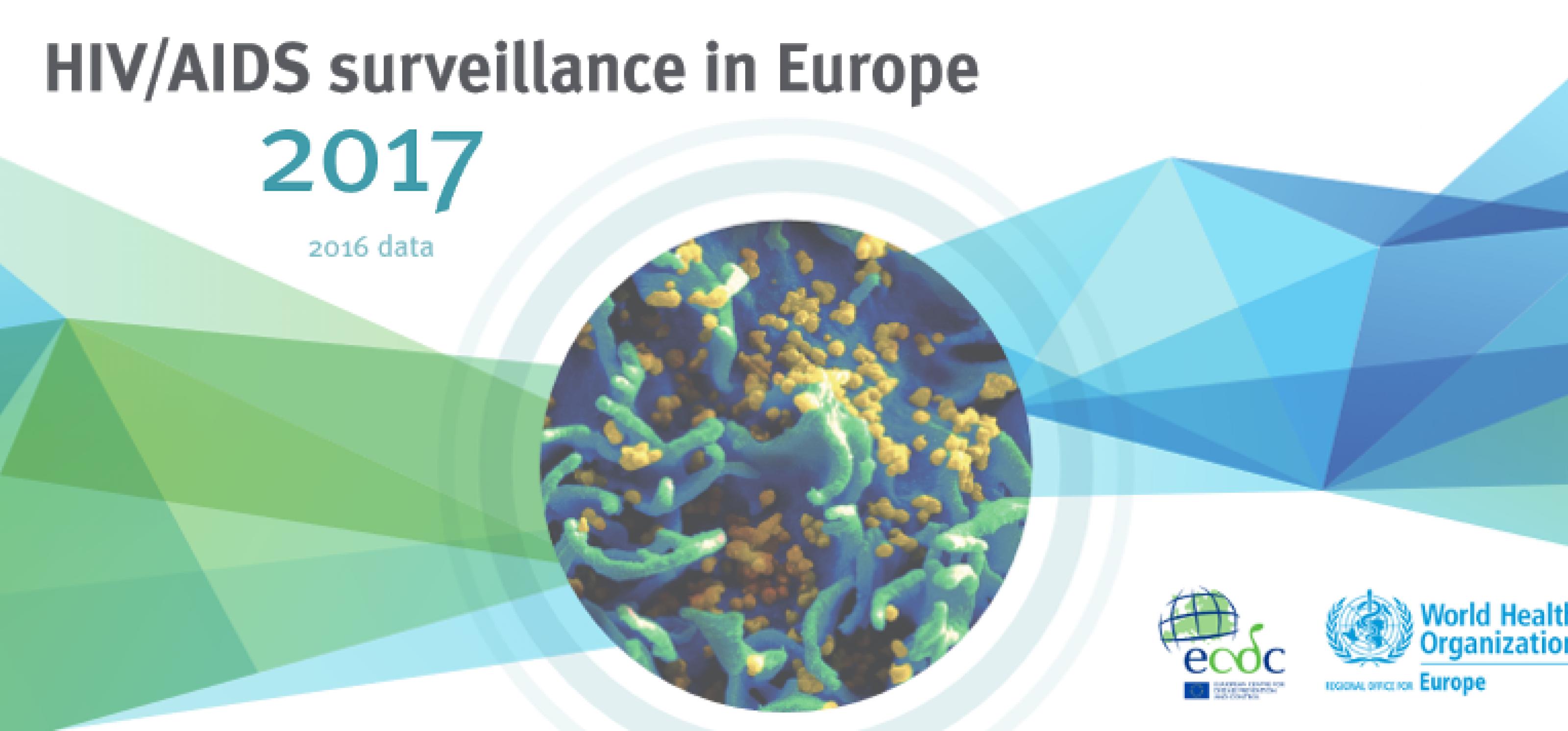 """Logos von WHO und ECDC, im Vordergrund der Text """"HIV/Aids Surveillance in Europe 2017. Data 2016"""""""