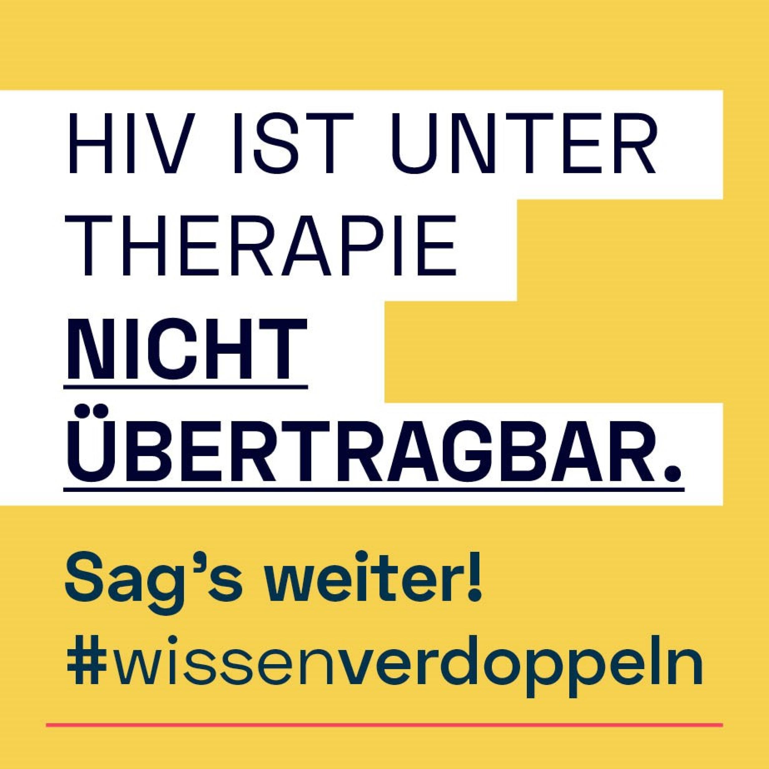 Kampagnenmotto in blauer Schrift auf gelben Untergrund
